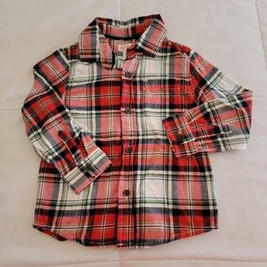 Cat & Jack Plaid Holiday Button Down Shirt, 3T